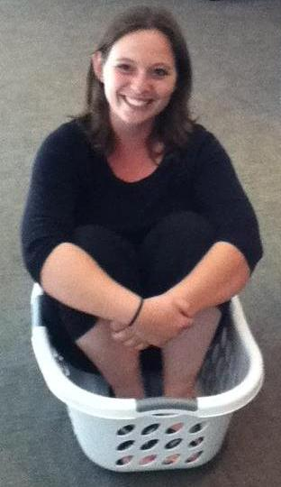 Kristy in a basket