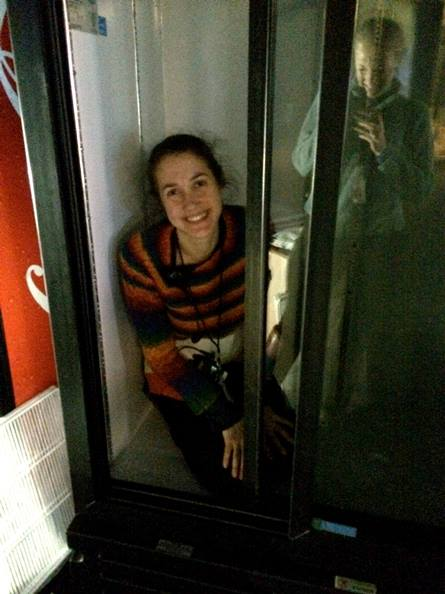 Jessie in a fridge Fashion Week